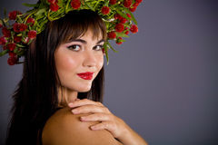 Girl with garland Royalty Free Stock Images