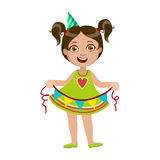 Girl With Garland, Part Of Kids At The Birthday Party Set Of Cute Cartoon Characters With Celebration Attributes. Adorable Child Celebrating And Partying Stock Images
