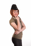 Girl in garrison cap Royalty Free Stock Photo