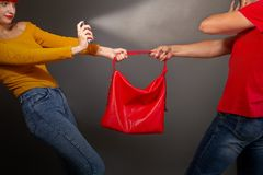 Girl gas robber. A girl defending pepper spray from a robber who is trying to take away her bag stock images