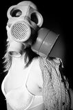Girl in gasmask and lingerie Stock Photo
