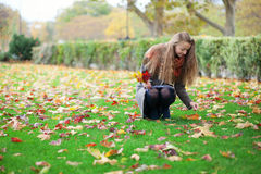 Girl gathering bright autumn leaves Royalty Free Stock Images