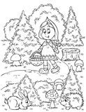 Girl gathers mushrooms Stock Image