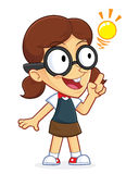 Girl Geek Creative Idea. Clipart Picture of a Girl Geek Cartoon Character Creative Idea Royalty Free Stock Photos