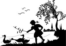 Girl and geese. Little girl, geese and tree vector illustration