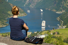 Girl in Geiranger Stock Images