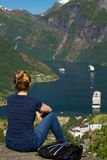 Girl in Geiranger Royalty Free Stock Photography