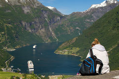 Girl in Geiranger Royalty Free Stock Images