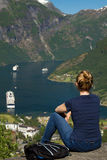 Girl in Geiranger Stock Photo