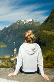 Girl in Geiranger Royalty Free Stock Photo