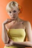 Girl with gerbera Stock Photos