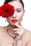 Girl with gerbera flower Stock Photo