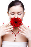 Girl with gerbera flower Stock Photo