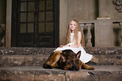 Girl with German shepherd Royalty Free Stock Photography