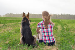 Girl with a German Shepherd Royalty Free Stock Photo