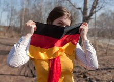 Girl with germany flag Stock Image