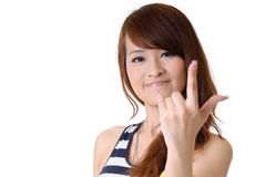 Girl with gesture of ILY Royalty Free Stock Image