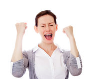 Girl gesture success isolated copy space Stock Photo