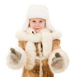 Girl in a gesture of warm clothing shows okay Royalty Free Stock Photography