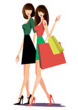 Girl gestures bags fashion vector tattoo Royalty Free Stock Photos