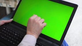 Girl gestures on digital tablet stock footage