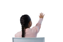 Girl gesturing against white background Stock Images