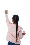 Girl gesturing against white background Stock Photography