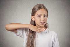 Girl gesturing with hand stop talking, cut it out Royalty Free Stock Photo