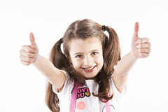 Girl gesturing Ok Stock Images
