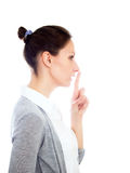 Girl gesturing secret isolated white copy space Stock Photos