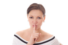 Girl gesturing silence isolated on white Royalty Free Stock Photography