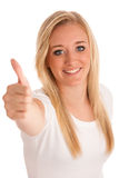 Girl gesturing success - young blonde woman showing thumb up Royalty Free Stock Photo