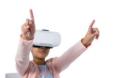 Girl gesturing while using virtual reality headset Stock Photography