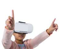 Girl gesturing while using virtual reality headset Royalty Free Stock Photo