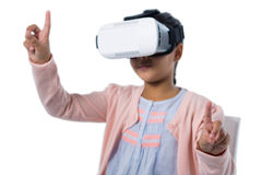 Girl gesturing while using virtual reality headset Royalty Free Stock Photos