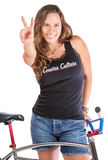 Girl Gesturing Victory with Her Bike Stock Photography