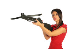 Girl gets on hip an arbalest Stock Photography