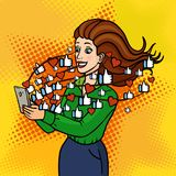 The girl gets to like and hearts in social networks. A beautiful lady is holding a phone and laughing. Vector background in comic. Retro pop art style. Party Stock Photo