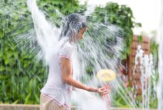 Girl getting drenched Stock Photos