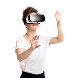 Girl getting experience using VR glasses of virtual reality Royalty Free Stock Photos