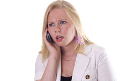 Girl getting mad at phone Royalty Free Stock Photography