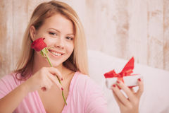 Girl getting present Royalty Free Stock Photo