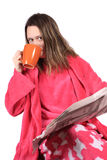 Girl getting up in the morning Royalty Free Stock Image