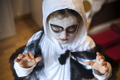 Girl in a ghost costume Royalty Free Stock Photo