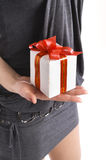 Girl with the gift Royalty Free Stock Images