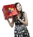 Girl with gift Royalty Free Stock Images