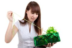The girl with a gift Stock Photo