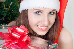 A girl with a gift Stock Photos
