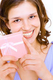 Girl with  a gift Stock Photography