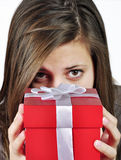 Girl with gift Royalty Free Stock Photos
